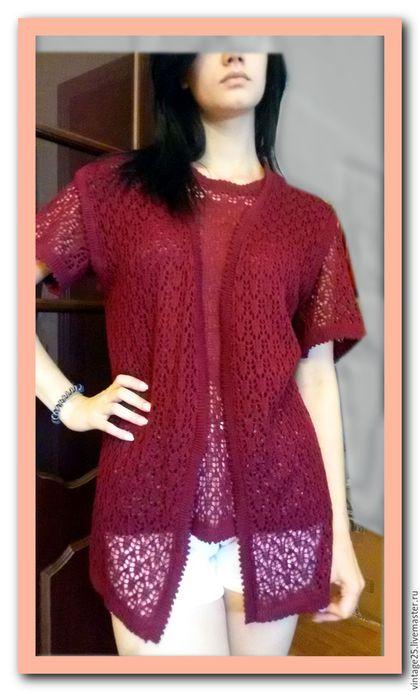 Одежда. Ярмарка Мастеров - ручная работа. Купить Вязанная двойка винтаж 46-48. Handmade. Бордовый, кофта