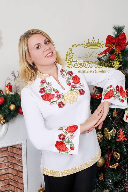 """Блузки ручной работы. Ярмарка Мастеров - ручная работа. Купить Блузка """"Мила"""". Handmade. Ярко-красный, блузка из хлопка"""