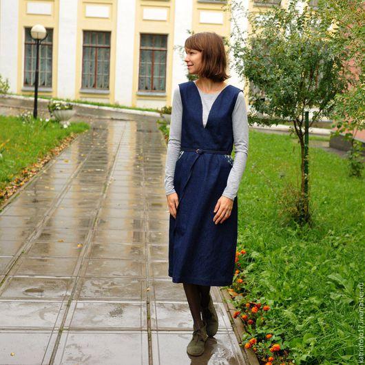 Платья ручной работы. Ярмарка Мастеров - ручная работа. Купить Джинсовый сарафан. Handmade. Тёмно-синий, дизайнерская одежда