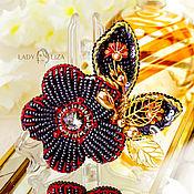 Украшения handmade. Livemaster - original item Brooch Black flower bead. Handmade.