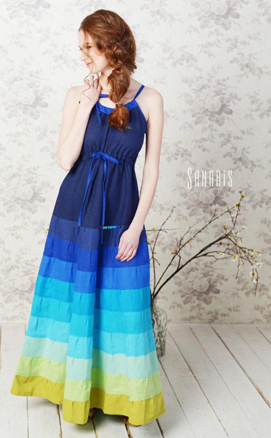 Платья ручной работы. Ярмарка Мастеров - ручная работа. Купить Платье цвета индиго. Handmade. Платье, бохо, бохо шик