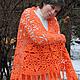 """Шали, палантины ручной работы. Заказать Шаль яркая оранжевая  """"Мандаринка"""" (полушерсть). Елена- L. Ярмарка Мастеров. Шаль крючком"""