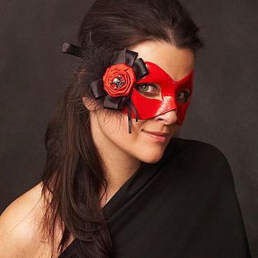 """Одежда ручной работы. Ярмарка Мастеров - ручная работа Карнавальная маска """"Амадеа"""" Красный/Черный (череп). Handmade."""