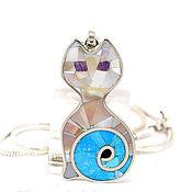 Украшения handmade. Livemaster - original item Cat PENDANT mother of pearl-turquoise. Pendant with natural stones. Handmade.