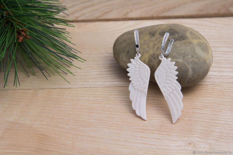 Earrings-wings of bone, Earrings, Vladimir,  Фото №1