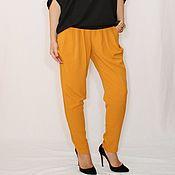 Одежда ручной работы. Ярмарка Мастеров - ручная работа Офисные брюки с карманами, штаны галифе, горчичный цвет. Handmade.