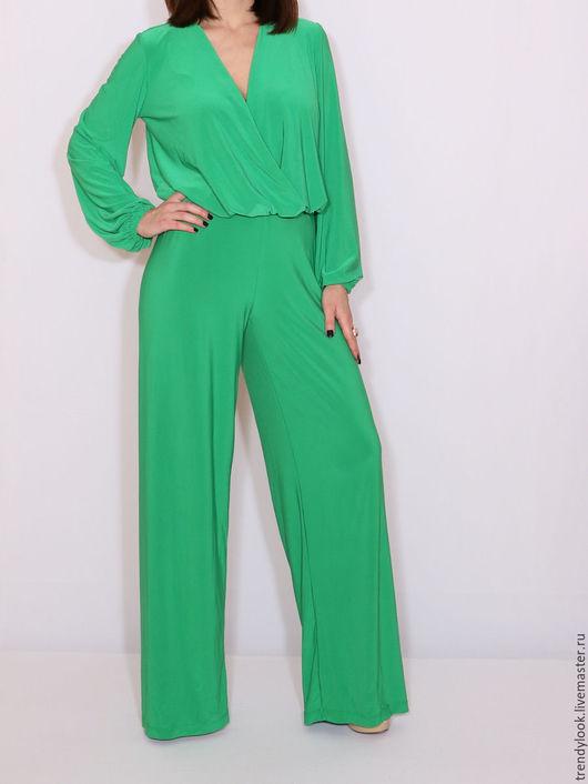 Комбинезоны ручной работы. Ярмарка Мастеров - ручная работа. Купить Ярко-зеленый комбинезон, длинный рукав и широкие штаны. Handmade.