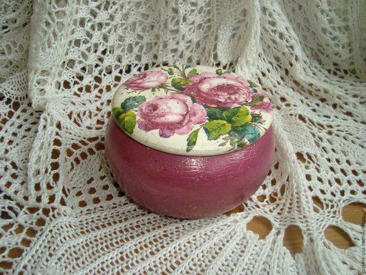 Шкатулки ручной работы. Ярмарка Мастеров - ручная работа. Купить Круглая шкатулочка Пышные розы. Handmade. Разноцветный, шкатулка для мелочей