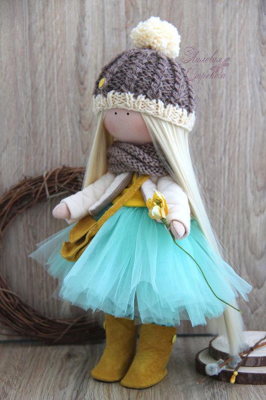 Куклы тыквоголовки ручной работы. Ярмарка Мастеров - ручная работа. Купить Текстильная куколка Веся. Handmade. Бирюзовый, коричневый