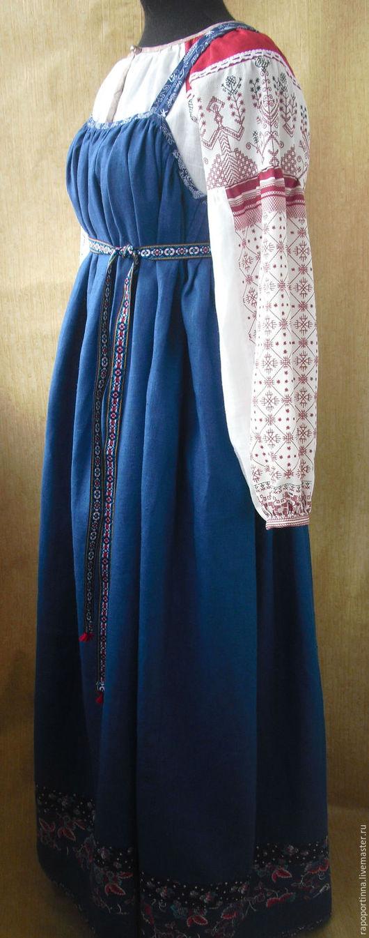 Одежда ручной работы. Ярмарка Мастеров - ручная работа. Купить Круговой сарафан из синего льна. Handmade. Синий, синий сарафан