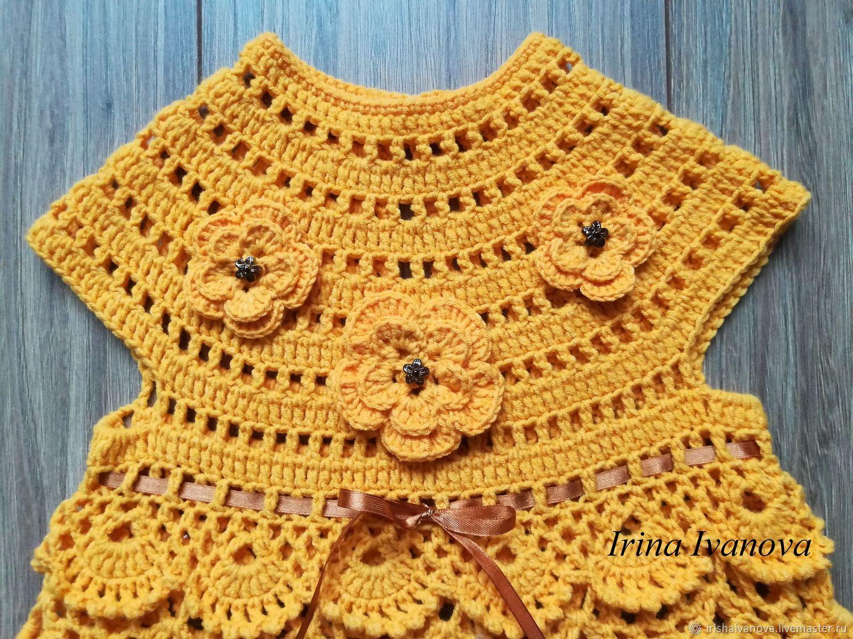 Вязаное летнее платье Жар-птица для девочки 1 - 2 лет крючком
