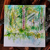 Картины и панно handmade. Livemaster - original item Emerald grove - watercolor paintings. Handmade.