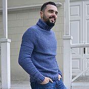 Одежда ручной работы. Ярмарка Мастеров - ручная работа Свитер мужской вязаный синий из мериноса Denim. Handmade.