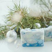 Косметика ручной работы handmade. Livemaster - original item Fabulous natural soap Christmas Blizzard white blue. Handmade.