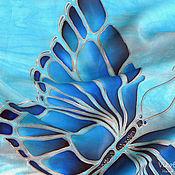 """Аксессуары handmade. Livemaster - original item """"Голубые бабочки в бирюзе"""" Батик шарф шелк крепдешин 100. Handmade."""