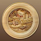 Картины и панно handmade. Livemaster - original item Wood caving plate - Idil. Handmade.