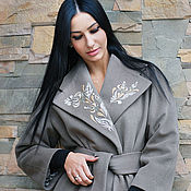 Одежда handmade. Livemaster - original item womens cashmere dark beige coat with embroidery