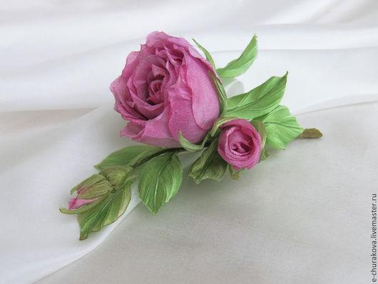 Цветы ручной работы. Ярмарка Мастеров - ручная работа. Купить Сиреневая роза. Цветы из шелка. Цветы из ткани.. Handmade. Сиреневый