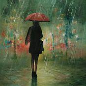 """Картины и панно ручной работы. Ярмарка Мастеров - ручная работа Картина маслом """"Дождь"""". Handmade."""