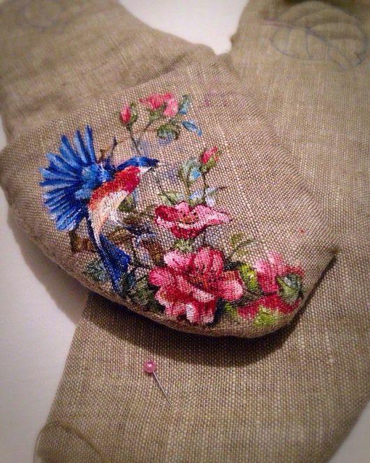 """Обувь ручной работы. Ярмарка Мастеров - ручная работа. Купить ЭКО тапочки """" Райская птица """". Handmade. Лен"""