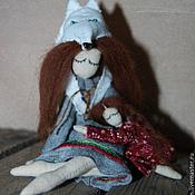 Куклы и игрушки ручной работы. Ярмарка Мастеров - ручная работа С мамой Текстильная композиция. Handmade.