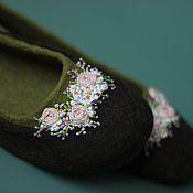 """Обувь ручной работы. Ярмарка Мастеров - ручная работа """"Цветение"""" тапочки балетки валяные. Handmade."""