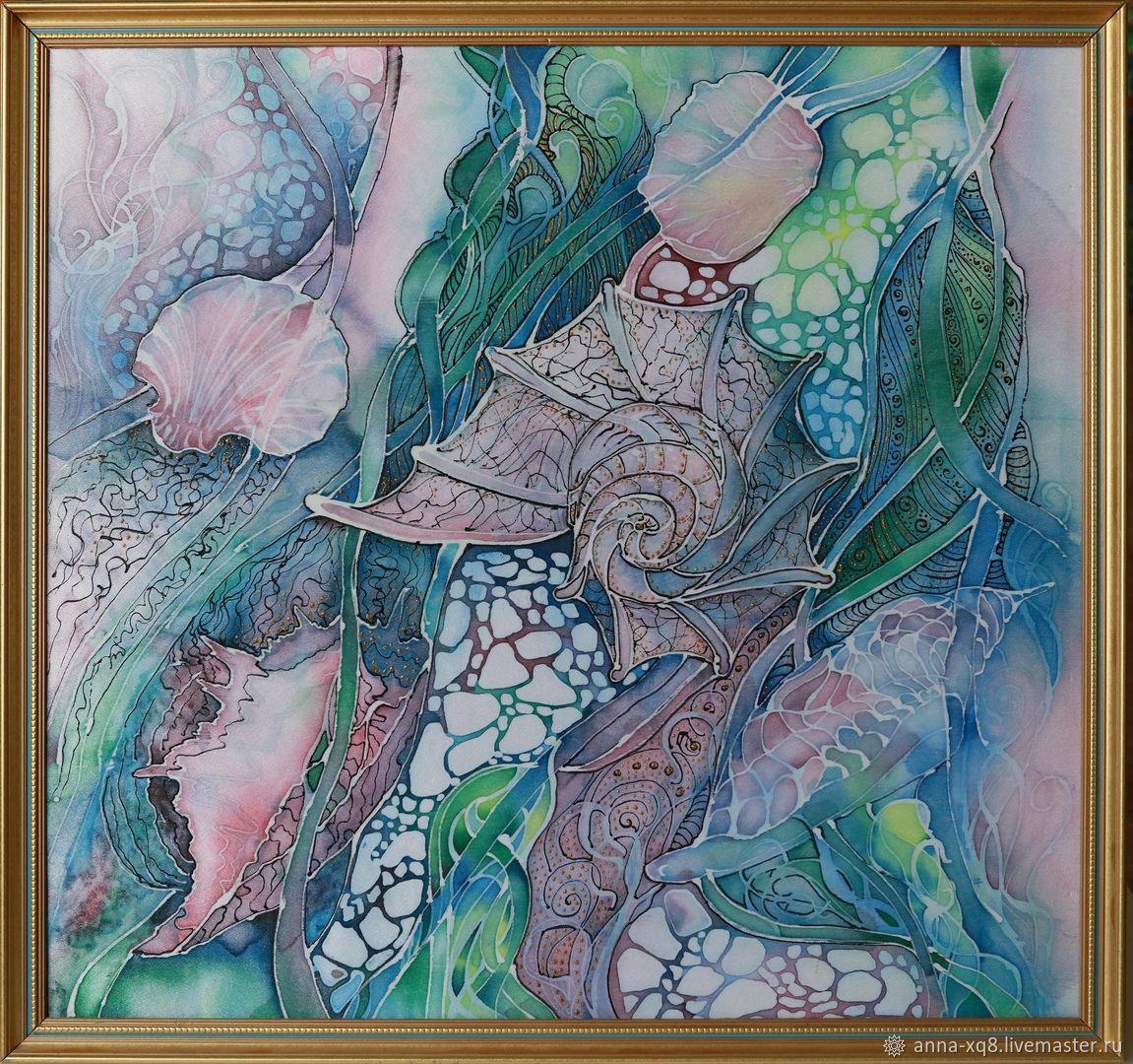 Картина Морские сокровища. Батик в раме, Картины, Рыбинск,  Фото №1