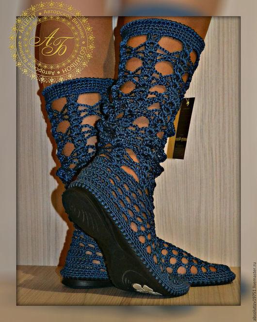 Обувь ручной работы. Ярмарка Мастеров - ручная работа. Купить Сапожки Синтия ...Лето..... Handmade. Синий, Вязаные сапоги