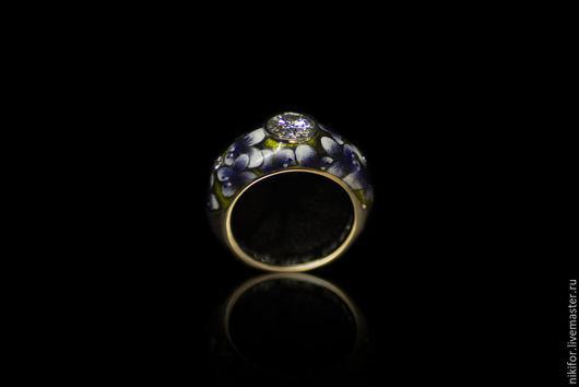 Кольца ручной работы. Ярмарка Мастеров - ручная работа. Купить кольцо золотое горячая эмаль. Handmade. Фиолетовый, золото, бриллианты