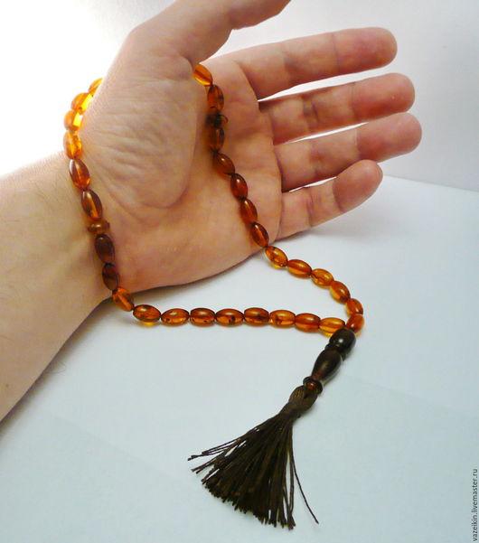 Четки ручной работы. Ярмарка Мастеров - ручная работа. Купить Чётки мусульманские из янтаря R-131. Handmade. Янтарь натуральный