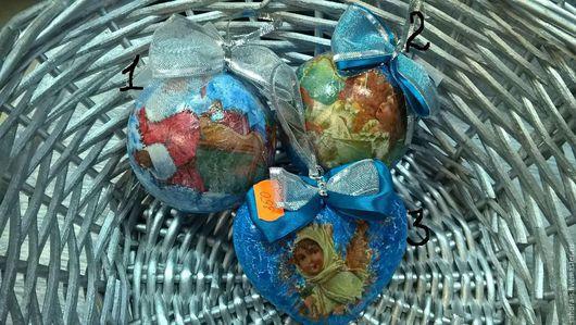 Новый год 2017 ручной работы. Ярмарка Мастеров - ручная работа. Купить Новогодние шары ручной работы (декупаж). Handmade. Комбинированный