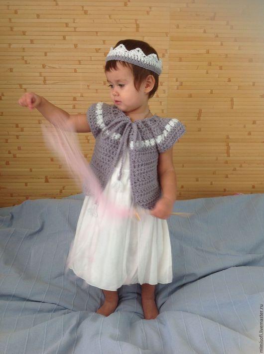 Одежда для девочек, ручной работы. Ярмарка Мастеров - ручная работа. Купить Кардиган снежная принцесса. Handmade. Серебряный, пелерина крючком