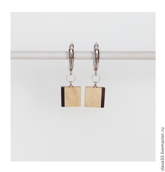 Серьги ручной работы. Ярмарка Мастеров - ручная работа. Купить Прямоугольные серьги.. Handmade. Чёрно-белый, прямоугольные серьги