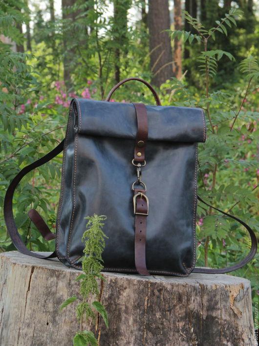 Рюкзаки ручной работы. Ярмарка Мастеров - ручная работа. Купить Городской рюкзак из натуральной кожи. Handmade. Синий, кожаные сумки
