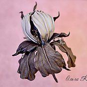 Украшения handmade. Livemaster - original item Grey iris leather brooch-flower. Handmade.
