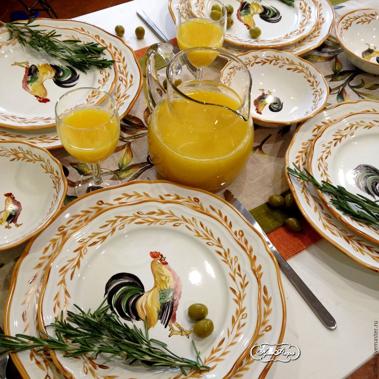 The painted porcelain Set table Cock and Oliva, Tea & Coffee Sets, Kazan,  Фото №1