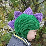 """Работы для детей, ручной работы. Ярмарка Мастеров - ручная работа Шапка-шлем осенняя """"Дракон"""". Handmade."""