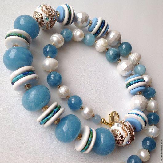 Бусы длинные крупные белые голубые колье ожерелье их Агата аквамарина жемчуга купить в подарок девушке женщине любимой подруге маме теще свекрови украшение на шею жемчужное из натуральных камней