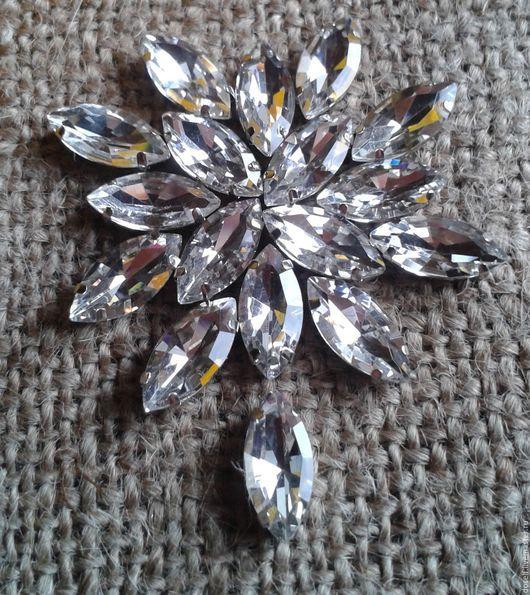 Для украшений ручной работы. Ярмарка Мастеров - ручная работа. Купить Стразы Чистый кристалл в серебрист. цапах 7х15мм Лодочка. Handmade.