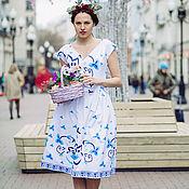 Одежда ручной работы. Ярмарка Мастеров - ручная работа Гжель Платье миди сине-белое. Handmade.