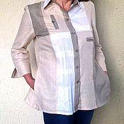 Одежда ручной работы. Ярмарка Мастеров - ручная работа Женская рубашка Натюр из натурального Льна,хлопка и кружев. Handmade.