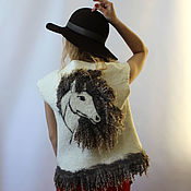 Одежда handmade. Livemaster - original item Felted vest White horse with a fleece. Handmade.