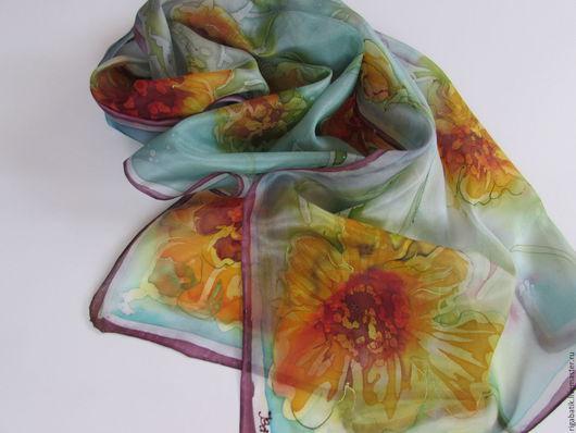 Шарфы и шарфики ручной работы. Ярмарка Мастеров - ручная работа. Купить Шелковый шарф батик Любимые цветы. Handmade. Комбинированный
