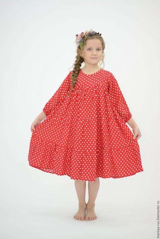"""Одежда ручной работы. Ярмарка Мастеров - ручная работа. Купить Платье для девочки """"Веселинка"""",штапель. Handmade. Ярко-красный"""