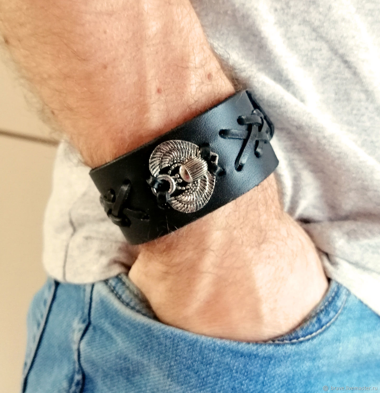 Scarab bracelet genuine leather, Hard bracelet, Moscow,  Фото №1