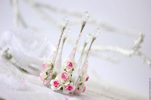 Диадемы, обручи ручной работы. Ярмарка Мастеров - ручная работа. Купить Розовая Корона из цветов. Цветочная корона. Корона в цветах. Handmade.