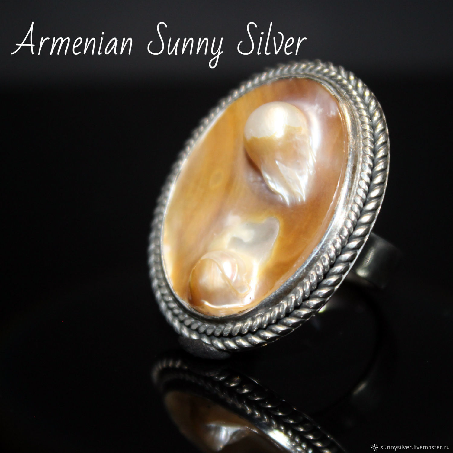 925 sterling silver Paula ring with natural mother of pearl and pearls, Rings, Yerevan,  Фото №1