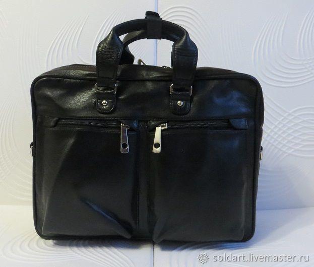 10cb4f64c906 ручной работы. Ярмарка Мастеров - ручная работа. Купить Чёрная кожаная  мужская сумка формата А4 ...