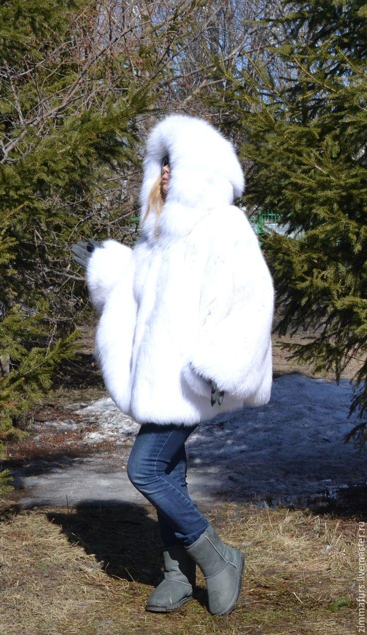 Poncho hooded fur white Fox, Fur Coats, Omsk,  Фото №1