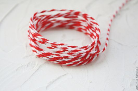 Открытки и скрапбукинг ручной работы. Ярмарка Мастеров - ручная работа. Купить Двухцветный шнур. Handmade. Красный, белый, шнур
